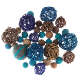 Blue & Brown Natural Decorative Spheres